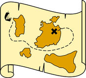 Antique treasure map. Drawing of antique treasure island map Stock Image