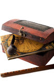 Antique treasury box with travel diery,pipe and flute Royalty Free Stock Photography