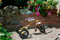 Antique tricycle in garden stock photography