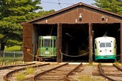 Antique Trolley Barn. Functioning antique street trolley barn at the National Trolley Museum, Wheaton, Maryland Stock Photography
