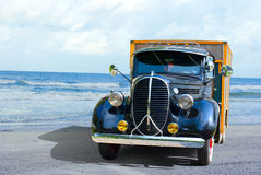Antique truck at the beach Royalty Free Stock Photo