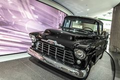Antique Truck Display At General Motors World Headquarters In Detroit stock photo