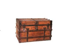 Antique Trunk. Isolated Antique Trunk on White royalty free stock photography