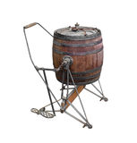 Antique tumbler clothes washer isolated. Antique foot operated wooden barrel tumbler clothes washer.  Isolated on white Royalty Free Stock Image