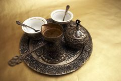 Antique Turkish Coffee Set. On gold background Stock Photography