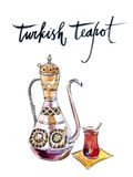Antique turkish teapot vector illustration