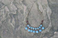Antique Turquoise necklace Stock Photo
