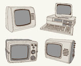 Antique TV and computer Royalty Free Stock Images