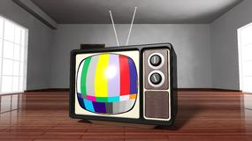 Antique TV set with color bars Royalty Free Stock Image
