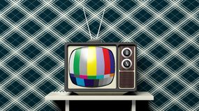 Antique TV set with color bars Stock Image