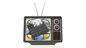 Antique TV set with film clap on screen. On white background. 3D rendering Royalty Free Stock Photo