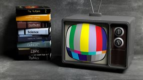 Antique TV set and stack of books. On blackboard  background. 3D rendering Stock Photo