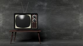 Antique TV set on table Royalty Free Stock Image