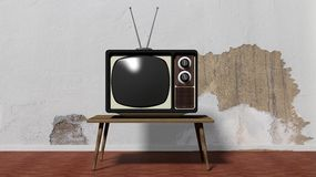 Antique TV set on table Royalty Free Stock Images