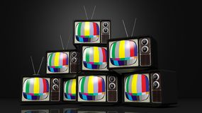 Antique TV sets with color bars on screen Stock Image