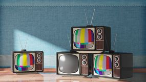 Antique TV sets on wooden floor. Home interior. 3D rendering Stock Images