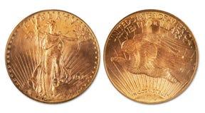 Antique twenty dollar gold coin. Royalty Free Stock Image