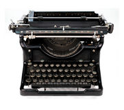 Antique typewriter. Antique manual Underwood typewriter on white royalty free stock images