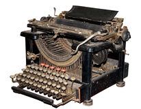 Antique typewriter. Antique and dusty typewriter, clipping path included Royalty Free Stock Photography
