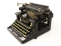 Antique Typewriter. 3/4 view of an antique typewriter royalty free stock images
