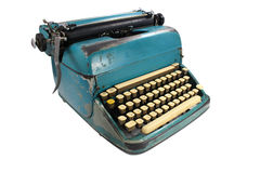 Antique typewriter against a crisp Stock Photo