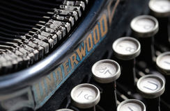Antique typewriter from beginning 20th century at industry exhibit in an art gallery stock image