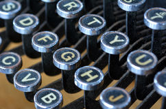 Antique typewriter English letters keyboard. Close up. Type Writing Concept royalty free stock images