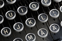 Antique typewriter keys. A close-up of the keys of an old, antique European language typewriter Stock Images