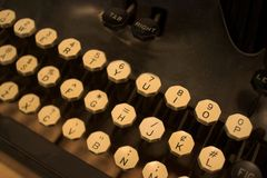 Antique typewriter keys detail. Detail view of keys on antique typewriter keyboard Stock Images