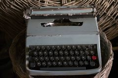 Antique typewriter with manual keys Royalty Free Stock Photos