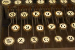 Antique Typewriter with Old Keys. QWERTY - Antique Typewriter with Old Keys royalty free stock image