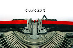Antique typewriter with sample text CONCEPT Stock Photo