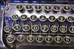 Antique Typewriter. An Antique Typewriter Showing Traditional QWERTY Keys stock photo