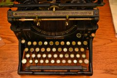 Antique typewriter Underwood in good working order. Underwood produced what is considered the first widely successful, modern type stock photos