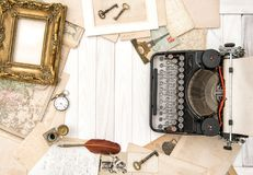 Antique typewriter vintage office accessories Flat lay still lif Royalty Free Stock Photography