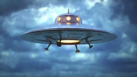 Antique Unidentified Flying Object Seamless Looping. Unidentified flying object. Unidentified object with retro style, old design. Seamless looping stock video footage