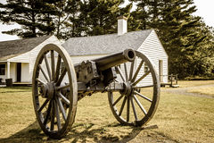 Antique United States Army Cannon. Copper Harbor, Michigan, USA - August 23, 2015. Located at Michigan state park of Fort Wilkins. The fort was established as an Stock Photo