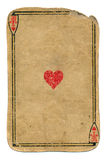 Antique used playing card ace of hearts background Stock Photography