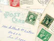 Antique used postcards Royalty Free Stock Photos