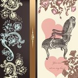 Antique valentine card design with heart Royalty Free Stock Photos