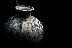 Antique vase. Isolated on black background, from Galle Fort in Sri Lanka, dating to Portuguese colonial rule Royalty Free Stock Image