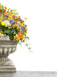 Antique vase with flowers, isolated on white Stock Images