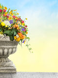 Antique vase with flowers Royalty Free Stock Photography