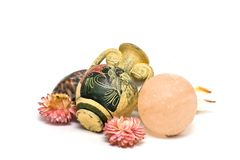 Antique vase, shower ball and shells Stock Image