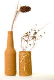 Antique vases with dry plants. Art and Craft. Artificially Painted cans with dry plants Stock Images