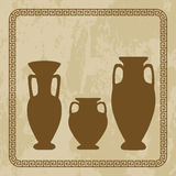 Antique vases on  grunge background Stock Photos