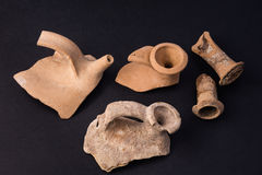 Antique vases. Rest of ancient roman vases found near Rome sea Royalty Free Stock Image