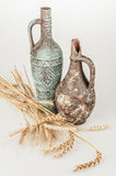 Antique vases with rye Stock Photography