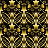 Antique vector seamless shell gold art deco pattern. Royalty Free Stock Image