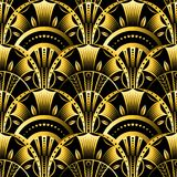 Antique vector seamless shell gold art deco pattern. Geometrical wavy background from golden fan. Royalty Free Stock Photo